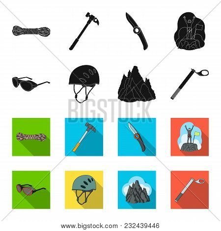 Helmet, Goggles, Wedge Safety, Peaks In The Clouds.mountaineering Set Collection Icons In Black, Fle