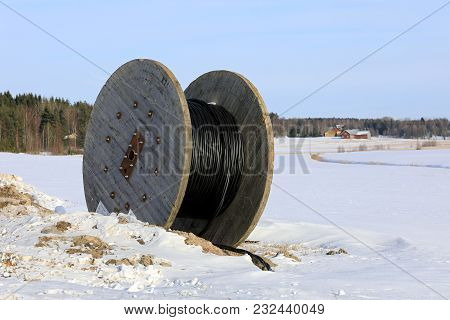 Salo, Finland - February 3, 2018: Cable Reel For Laying Underground Power Cable At Work Site In Wint