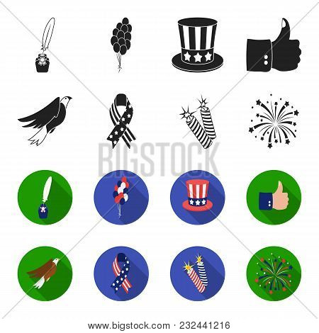 American Eagle, Ribbon, Salute. The Patriot Day Set Collection Icons In Black, Flet Style Vector Sym