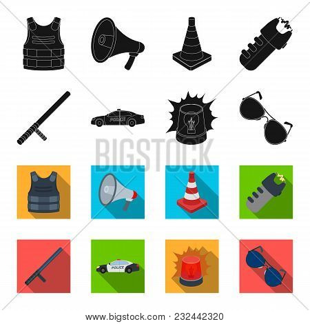 Police Baton, Auto, Flasher, Glasses.police Set Collection Icons In Black, Flet Style Vector Symbol