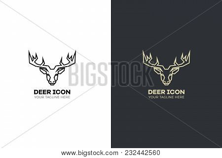 Stylized Geometric Deer Head Illustration. Vector Icon Tribal Stag Design