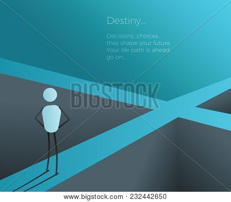 Character At A Crossroad Making A Future Life Changing Decision. Vector Illustration For Future, Des