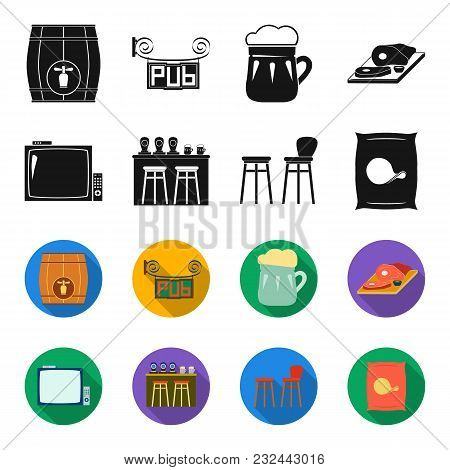 Tv, Bar Counter, Chairs And Armchairs, Potato Chips.pub Set Collection Icons In Black, Flet Style Ve