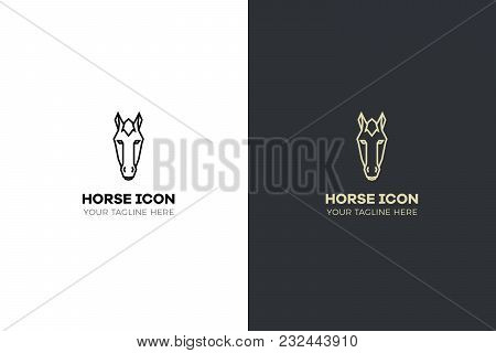Stylized Geometric Horse Head Illustration. Vector Icon Tribal Design