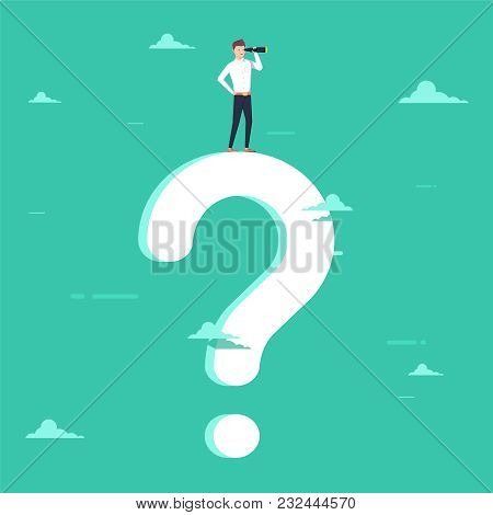Business Decision Vector Concept With Businessman Visionary Standing On Giant Question Mark. Symbol