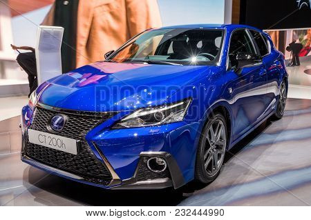 Geneva, Switzerland - March 7, 2018: Lexus Ct200h Hybrid Car Showcased At The 88th Geneva Internatio