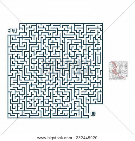Vector Maze With Solution. Labyrinth Template For Entertainment And Leisure Purposes. Easy To Edit