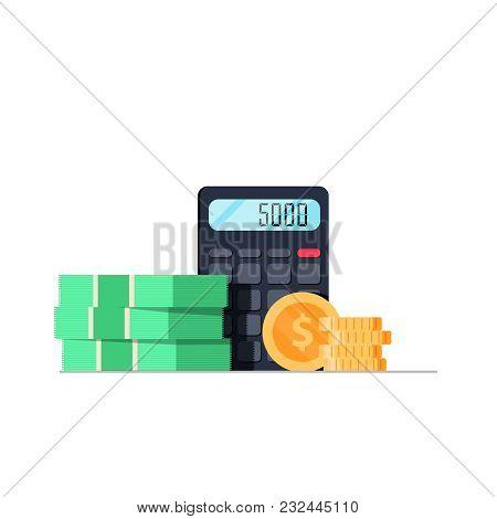 Money And Calculator Flat Illustration. Bank Bill Balance Business Illustration. Commerce Financial