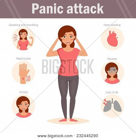 Woman. Panic Attack. Vector Art On A White Background. Cartoon. Isolated. Flat. Illustration For Web