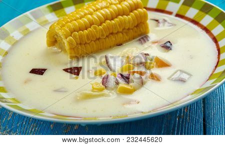 Jamaican Corn Soup - Caribbean Styler soup  close up poster