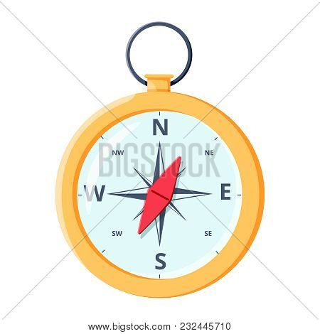 Compass For Traveling And Exploration, Discovery, Journey, Geography And Orienteering. Orientation T