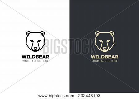 Stylized Geometric Bear Head Illustration. Vector Icon Tribal Design