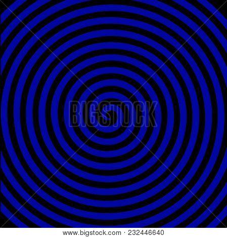 Black Blue Round Abstract Vortex Hypnotic Spiral Wallpaper. Vector Illustration Optical Illusion Spi