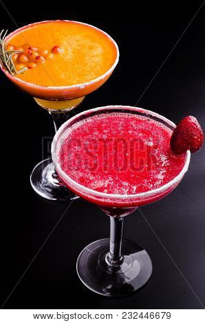 Two Perfect Classic And Strawberry Margarita, White And Red Alcoholic Cocktail With Decoration Of Sa