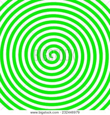 White Green Round Abstract Vortex Hypnotic Spiral Wallpaper. Vector Illustration Optical Illusion Sp