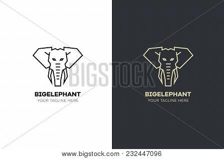 Stylized Geometric Elephant Head Illustration. Vector Icon Tribal Design