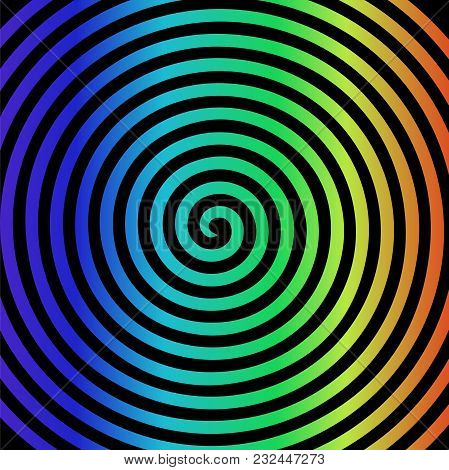 Black Rainbow Round Abstract Vortex Hypnotic Spiral Wallpaper. Vector Illustration Optical Illusion