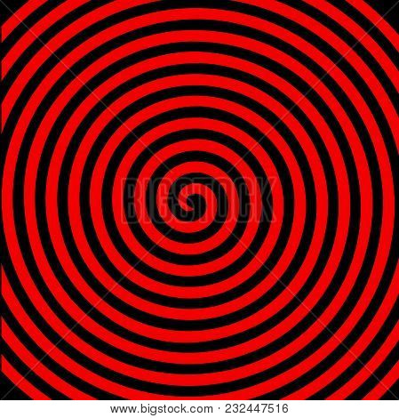 Black Red Round Abstract Vortex Hypnotic Spiral Wallpaper. Vector Illustration Optical Illusion Spir