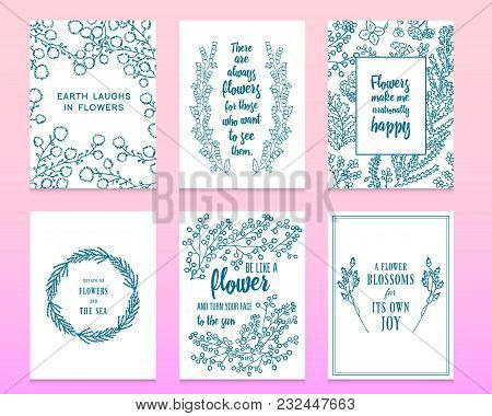 Leaves Of Flowers. Vector Set. Cute Floral Collection, Hand Drawn Watercolor. Wedding Or Greeting Ca