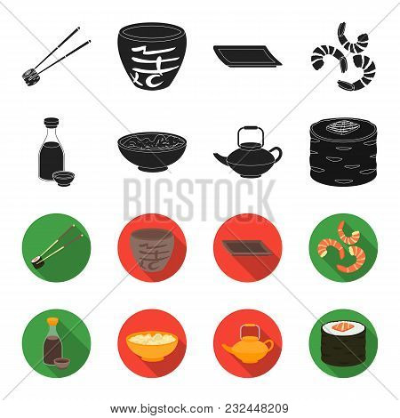 Soy Sauce, Noodles, Kettle.rolls.sushi Set Collection Icons In Black, Flet Style Vector Symbol Stock