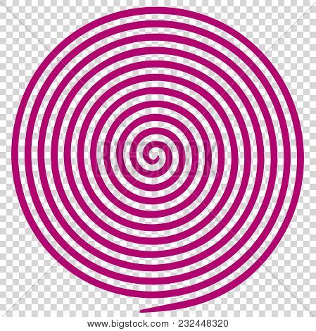 Purple Round Abstract Vortex Hypnotic Spiral. Vector Illustration Optical Illusion Helix Anaglyph Op