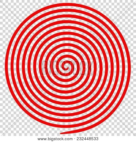 Red Round Abstract Vortex Hypnotic Spiral. Vector Illustration Optical Illusion Helix Anaglyph Opt A