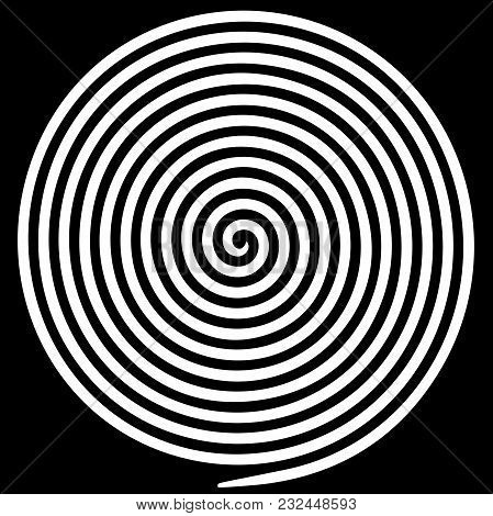 White Round Abstract Vortex Hypnotic Spiral. Vector Illustration Optical Illusion Helix Anaglyph Opt