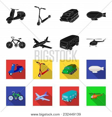 Bicycle, Airplane, Bus, Helicopter Types Of Transport. Transport Set Collection Icons In Black, Flet