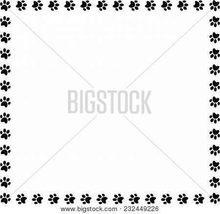 Square Frame Made Of Black Animal Paw Prints On White Background. Vector Illustration, Template, Bor