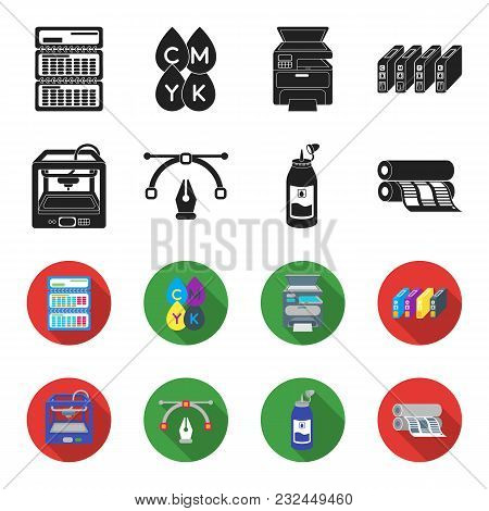 3d Printer, Newspaper Printer, Ink, Pen. Typography Set Collection Icons In Black, Flet Style Vector