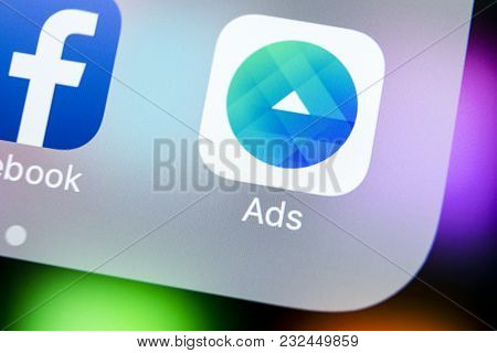 Sankt-petersburg, Russia, March 22, 2018: Facebook Ads Application Icon On Apple Iphone X Screen Clo
