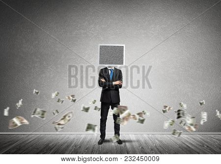 Businessman In Suit With Monitor Instead Of Head Keeping Arms Crossed While Standing Among Flying Do