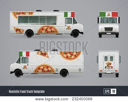 Food Trucks Realistic Ad Template Design Of Meals On Wheels Car With Side Front And Back Views Vecto