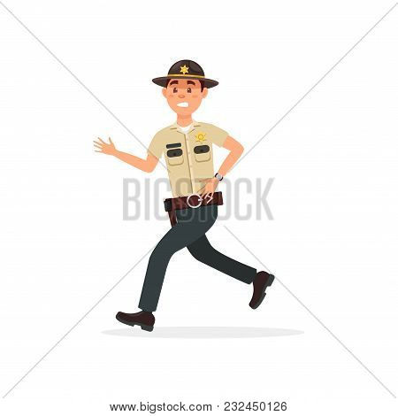 Town Male Sheriff Police Officer Character In Official Uniform Running Vector Illustration Isolated