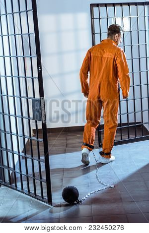 Rear View Of Prisoner Walking In Orange Uniform With Weight Tethered To Leg
