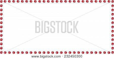 Rectangle Frame Made Of Red Animal Paw Prints On White Background. Vector Illustration, Template, Bo