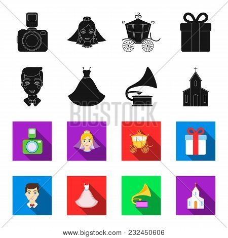 Wedding Dress, Groom, Gramophone, Church. Wedding Set Collection Icons In Black, Flet Style Vector S