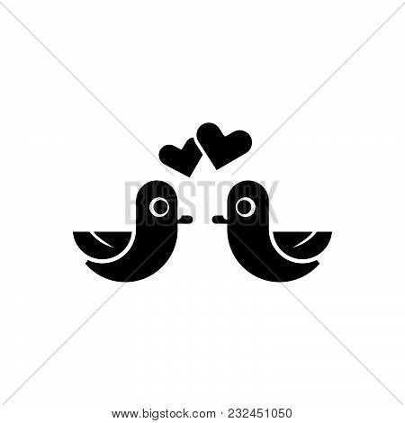 Love Birds Fiolled Vector Icon On White Background. Love Birds Fiolled Modern Icon For Graphic And W