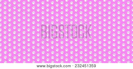 Rectangle Seamless Baby Pattern Of White Animal Paw Prints On Pink Background. Vector Illustration,