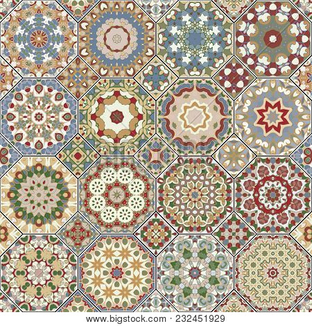 Set Of Octagonal And Square Ornaments. Decorative And Design Elements For Textile, Book Covers, Manu