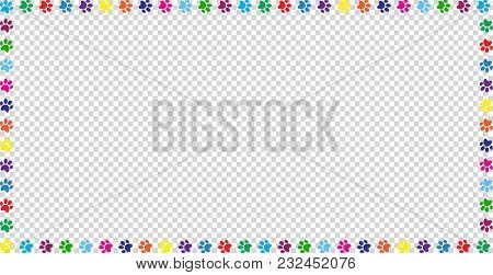 Rectangle Frame Made Of Multicolored Rainbow Animal Paw Prints On Transparent Background. Vector Ill