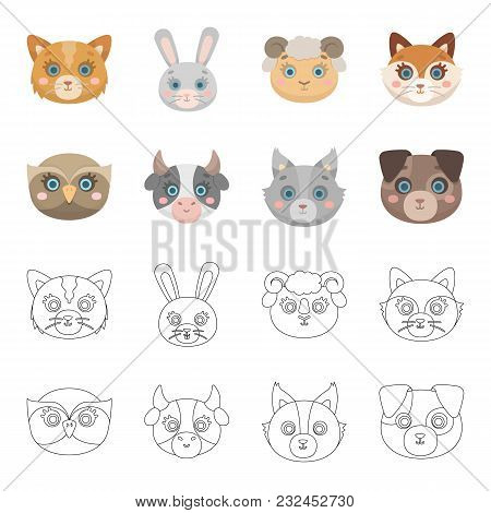 Owl, Cow, Wolf, Dog. Animal Muzzle Set Collection Icons In Cartoon, Outline Style Vector Symbol Stoc