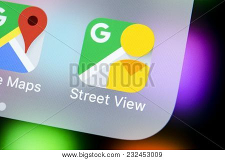 Sankt-petersburg, Russia, March 22, 2018: Google Street View Application Icon On Apple Iphone X Scre