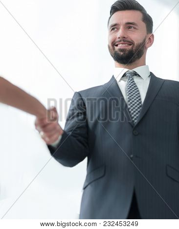 Image of business partners handshaking in office