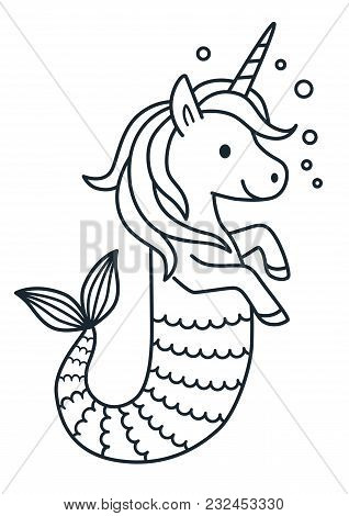 Cute Unicorn Mermaid Vector Coloring Page Cartoon Illustration. Magical Creature With Unicorn Head A