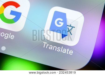 Sankt-petersburg, Russia, March 22, 2018: Google Translate Application Icon On Apple Iphone X Screen