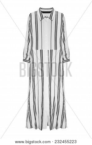 Striped Black And White Linen Long Shirt Dress Isolated Over White