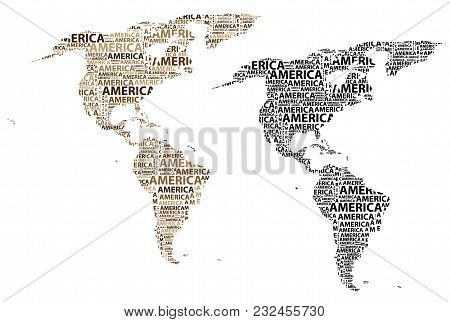Sketch America Letter Text Continent, America Word - In The Shape Of The Continent, Map Of Continent