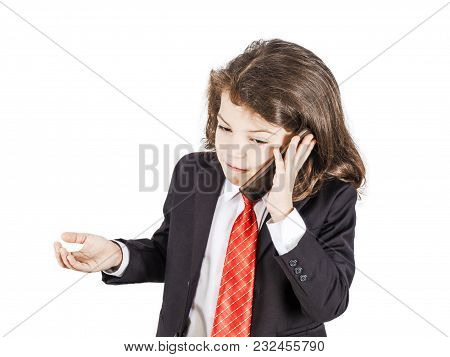 Funny Unusual Boy In Businessman Suit Talking Angry,