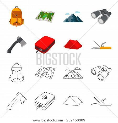 Ax, First-aid Kit, Tourist Tent, Folding Knife. Camping Set Collection Icons In Cartoon, Outline Sty